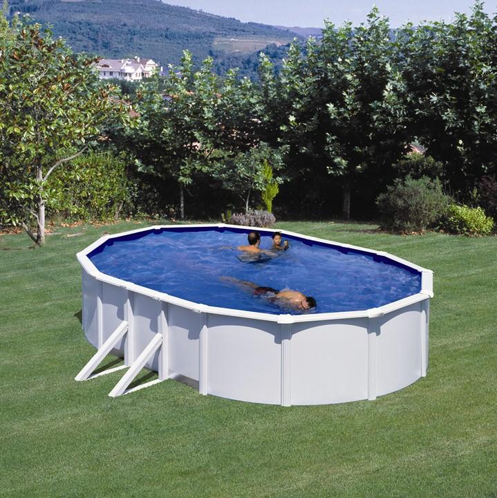 Piscina desmontable gre cies ovalada acero chapa blanca for Recambios piscinas desmontables