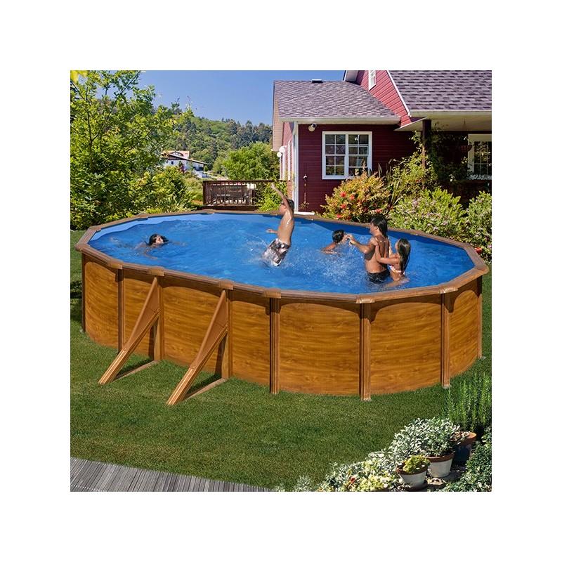 Piscina desmontable gre sicilia ovalada imitaci n madera for Recambios piscinas desmontables